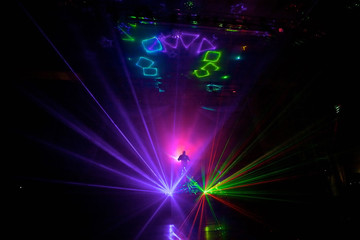 Multi-colored laser show in a dark space.