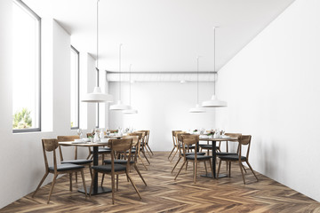 White modern cafe interior