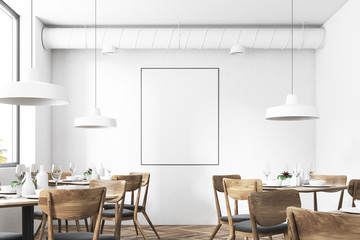 White loft restaurant interior, poster close up