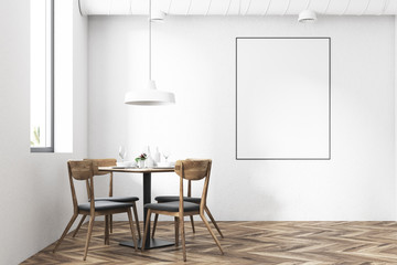 Round table with chairs in a restaurant, poster
