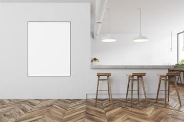 White modern bar interior, poster front view
