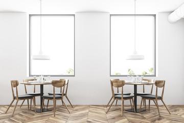 White loft restaurant interior