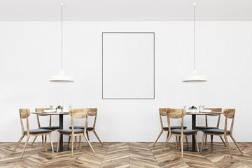 White loft restaurant interior, poster
