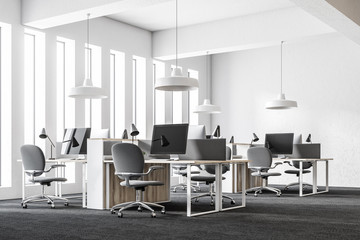 White loft open space workplace corner