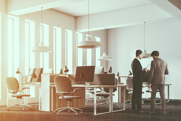 White loft open space workplace corner people
