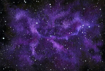 Watercolor Purple Star Field