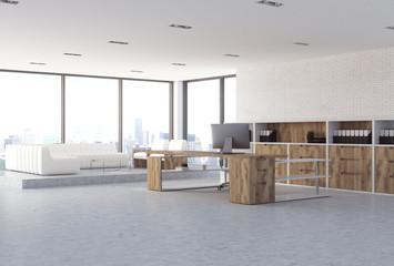 White brick CEO office corner