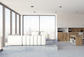 White brick wall CEO office interior