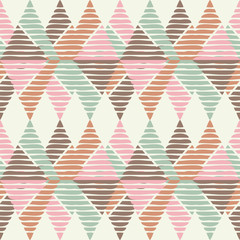 Seamless geometric pattern. Texture of triangles and squiggles. Textile rapport.