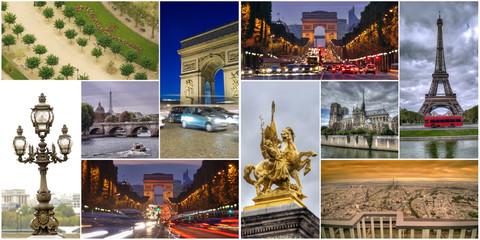 set or collage of Paris city images, France