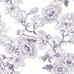Different beautiful flowers seamless pattern. Vintage botanical hand drawn illustration. Spring flowers of apple or cherry tree, magnolia, poppy