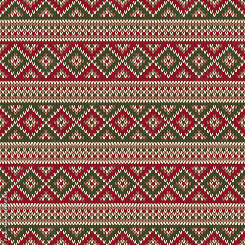 Traditional Fair Isle Style Knitted Pattern Christmas And New Year