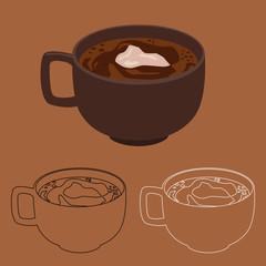 Cocoa, hot chocolate drink in a mug cartoon vector illustration.
