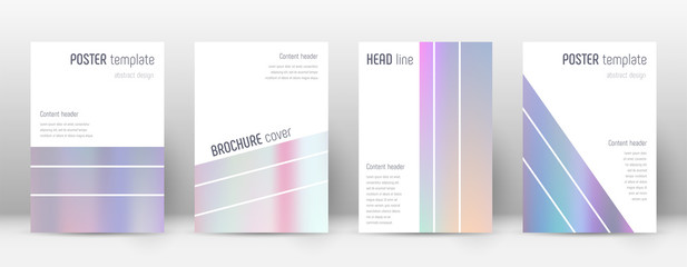Flyer layout. Geometric radiant template for Brochure, Annual Report, Magazine, Poster, Corporate Presentation, Portfolio, Flyer. Alluring pastel hologram cover page.
