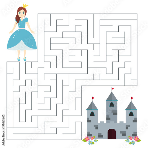 Educational Maze Game For Preschool Kids Help The Princess Find