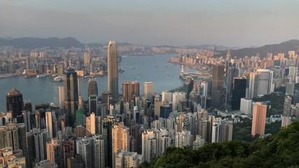 Fotomurales - Victoria Peak, Hong Kong  - March 31, 2018 : Hong Kong city view from the peak