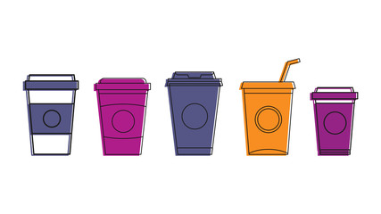 Plastic cup icon set, color outline style