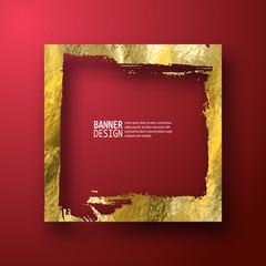Golden luxury empty grunge frame on the red