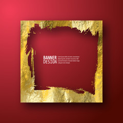 Golden luxury empty grunge frame on the red