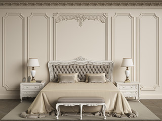 Classic bedroom furniture in classic interior.Walls with mouldings,ornated cornice Wall mural