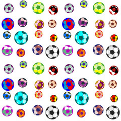 seamless pattern. consists of balls for football. different size and bright colors.