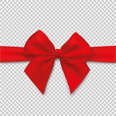 Realistic red bow and ribbon on isolated background - stock vector.