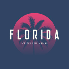 Florida Miami Ocean Drive t-shirt and apparel design with palm t