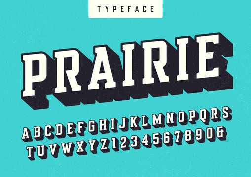 Prairie vector condensed retro typeface, uppercase letters and n