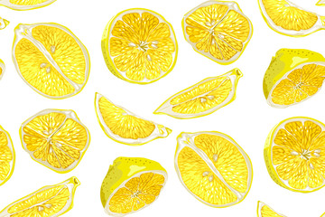 Citrus seamless pattern with halves and slices of fruit