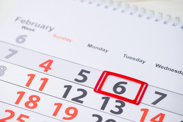 World Bartender Day. February 6 mark on the calendar, close-up