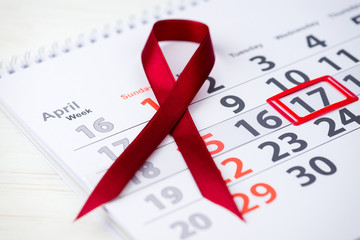 World Hemophilia Day. 17 April mark on the calendar, close-up