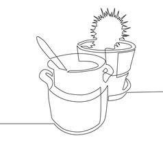 continuous one line drawing - clay pot with spoon inside and cac