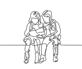 continuous one line drawing of two girls are sitting and reading