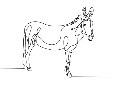 continuous one line drawing of donkey in modern minimalistic sty