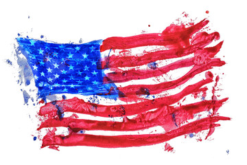 United states of America flag painted by hand and watercolors