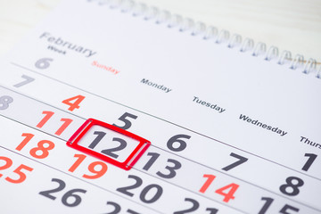 Maslenitsa or Pancake week. February 12 mark on the calendar, close-up