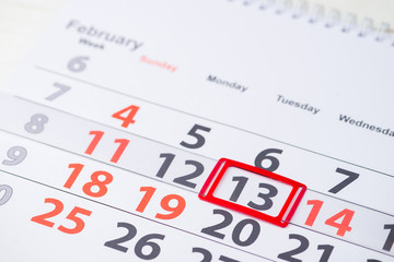 Shrove Tuesday, World radio day, International Pancake Day. February 13 mark on the calendar, close-up