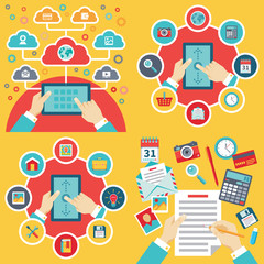 Business concept illustration in flat style. Office, tablet, human hands. Internet connection creative layout. Icons set. Abstract infographic. Graphic design element.