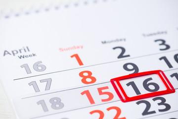World Circus Day. 16 April mark on the calendar, close-up