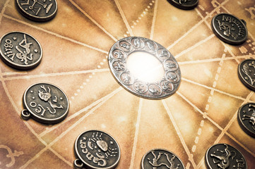horoscope with zodiac symbols like a concept astrology and signs characteristic