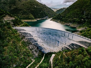 Barrage Valvestino Dam in Italy. Hydroelectric power plant.