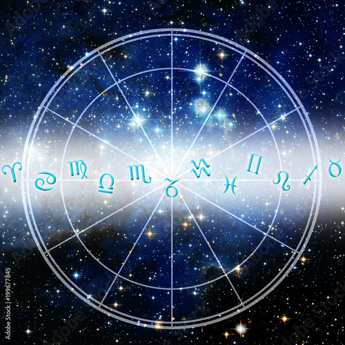 Astrological Signs And Zodiac Chart Like Esoteric Background Stock