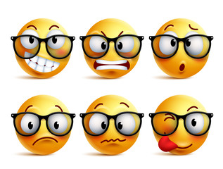 Smileys vector set of yellow nerd emoticons with eyeglasses and funny facial expressions isolated in white background. Smiley face vector icons.