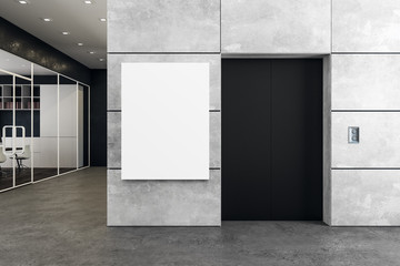 Modern office with elevator and poster