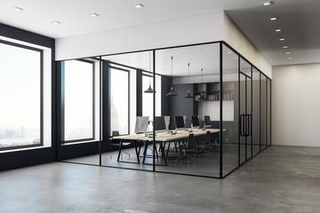 Concrete coworking office interior