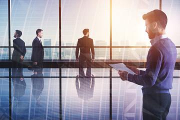 Meeting, teamwork and job concept