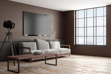 Side of modern interior with TV frame