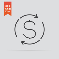 Currency exchange icon in flat style isolated on grey background.