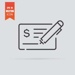 Money check icon in flat style isolated on grey background.