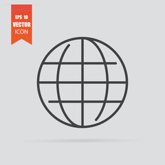 Web icon in flat style isolated on grey background.